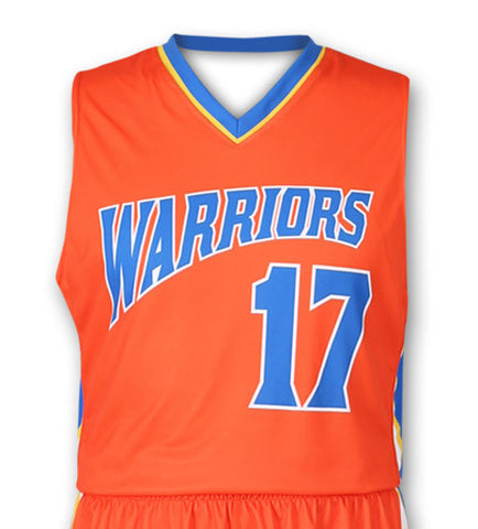 """Swish"" Custom Sublimated Basketball Jersey Front View"