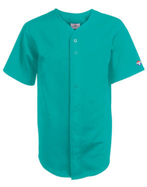 Home Run Full Button Pro Weight Polyester Baseball Jersey Teal