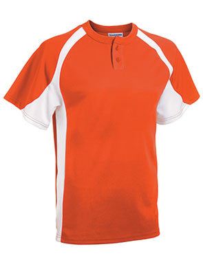 Line Drive Two-Button Cool Mesh Baseball Jersey Orange