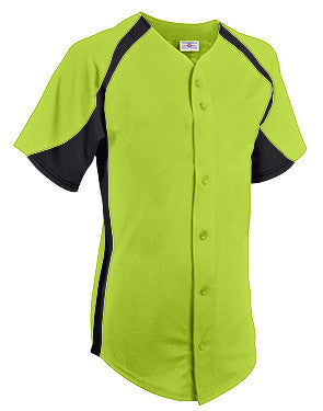 Clutch Full Button Cool Mesh Softball Jersey Fluorescent Green/Black