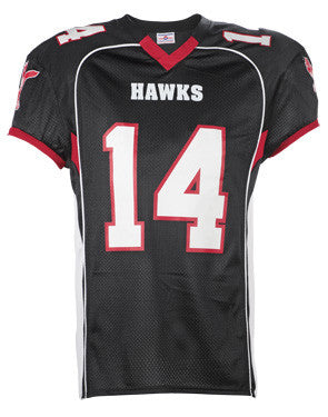 No Huddle Football Jersey with Spandex Side Inserts Black/Scarlet