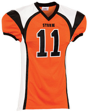 Red Zone Steelmesh Football Jersey with Spandex Side Inserts Orange/Black/white