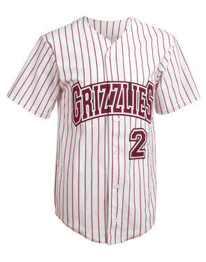 Splitter Full Button Warp-Knit Pinstripe Baseball Jersey White/Maroon