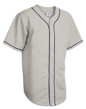 Walk Off Full Button Pro-Weight Polyester Jersey Silver/Navy