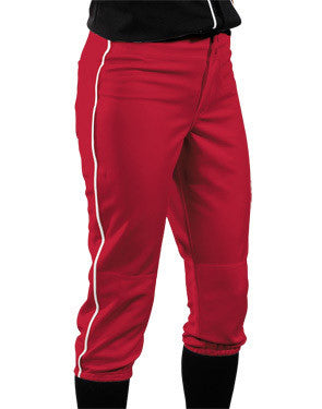 Ladies Low-Rise Elastic Waist Softball Pant with Piping Scarlet/White