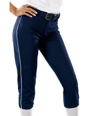 Ladies Low-Rise Piped Pro Style Softball Pant Navy/White