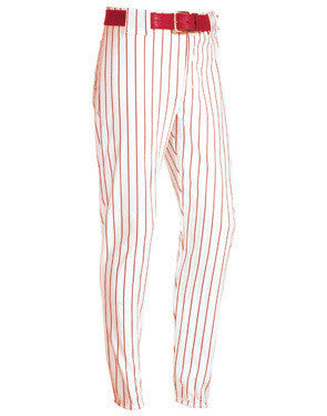 Pinstripe 14 oz. Elastic Bottom Softball Pant White/Scarlet