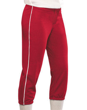 Ladies All Star Elastic Waist Softball Pant with Piping Scarlet/White