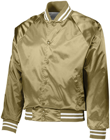 Augusta Sportswear Satin Baseball Jacket/Striped Trim