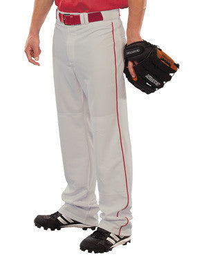 Pitchout 14 oz. Piped Open Bottom Softball Pant Silver/Scarlet