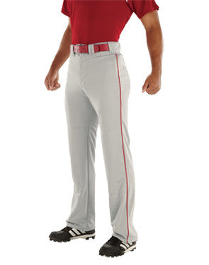 Relay 17 oz. Piped Open Bottom Baseball Pant Silver/Scarlet