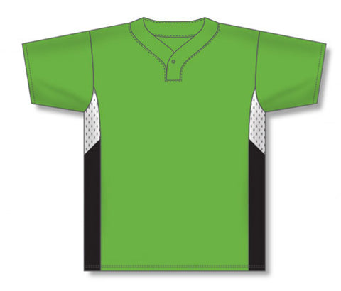 BA1763 One Button Pro Placket Baseball Jersey with Side Inserts