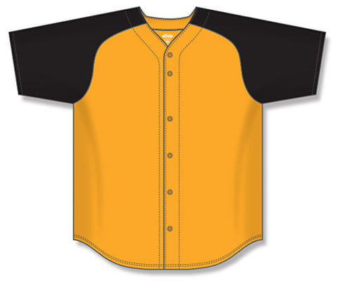BA1875 Full Button Baseball Jersey with Contrast Sleeve
