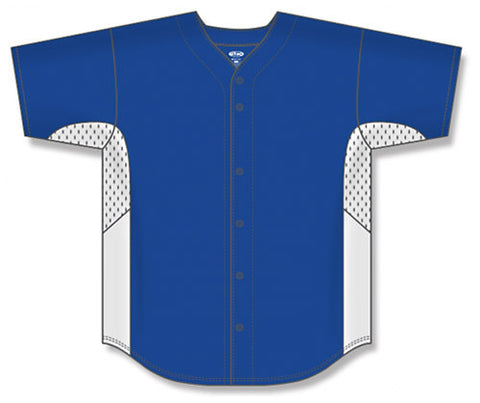 BA1890 Full Button Baseball Jersey with Contrast Sleeve