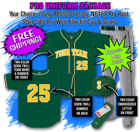 BBPAK10 Pro Baseball Uniform Package
