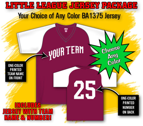 BBPAK1 Little League Baseball Jersey Package