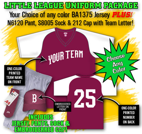 BBPAK2 Little League Baseball Uniform Package