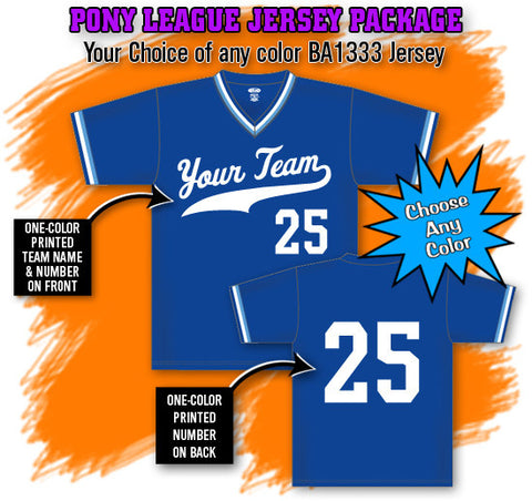 BBPAK3 Pony League Baseball Jersey Package
