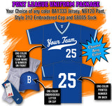 BBPAK4 Pony League Baseball Uniform Package