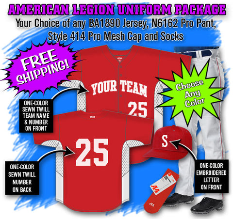 BBPAK8 American Legion Baseball Uniform Package