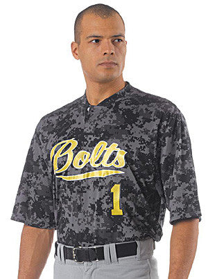 N3263 Two Button Camo Baseball Jersey