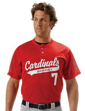 N4130 Two-Button Polyester Textured Mesh Baseball Jersey