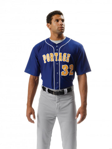 N4184 Full Button Polyester Stretch Mesh Baseball Jersey