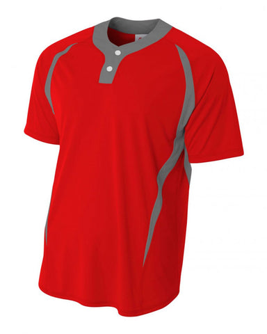 Two-Button Performance Softball Jersey Scarlet/Graphite