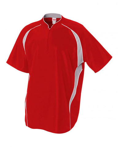 Quarter Zip Batting Jacket Scarlet