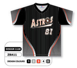 ZBA11-1128 Custom Sublimated V-Neck Baseball Jersey