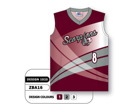 ZBA16-1025 Custom Sublimated Ladies Sleeveless V-Neck Softball Jersey