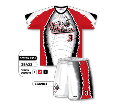 ZBA22S-1331 Custom Sublimated Ladies Short Sleeve Crew Neck Softball Uniform Set