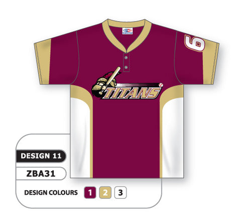 ZBA31-0911 Custom Sublimated Two-Button Baseball Jersey