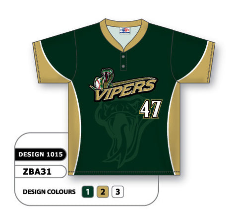 ZBA31-1015 Custom Sublimated Two-Button Baseball Jersey