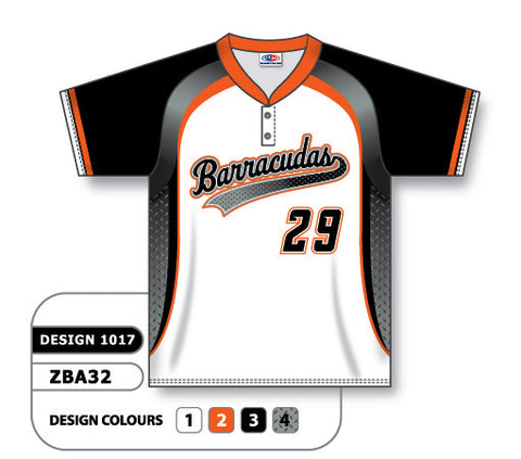 ZBA32-1017 Custom Sublimated Two-Button Baseball Jersey