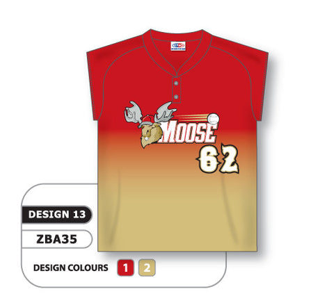 ZBA35-0913 Custom Sublimated Ladies Two-Button Cap Sleeve Softball Jersey