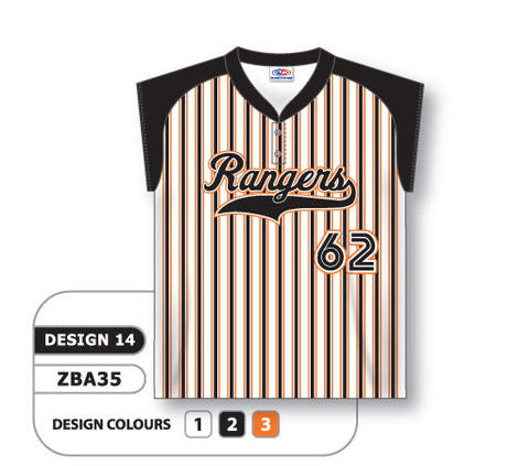 ZSB35-0914 Custom Sublimated Two-Button Cap Sleeve Softball Jersey