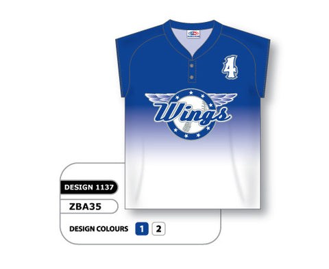 ZBA35-1137 Custom Sublimated Ladies Two-Button Cap Sleeve Softball Jersey