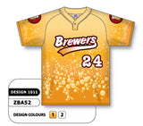 ZBA52-1011 Custom Sublimated One-Button Pro Placket Baseball Jersey