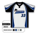 ZBA52-1012 Custom Sublimated One-Button Pro Placket Baseball Jersey