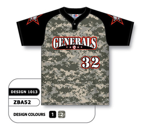 ZBA52-1013 Custom Sublimated One-Button Pro Placket Baseball Jersey