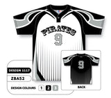 ZBA52-1117 Custom Sublimated One-Button Pro Placket Baseball Jersey