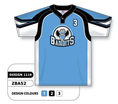 ZBA52-1119 Custom Sublimated One-Button Pro Placket Baseball Jersey