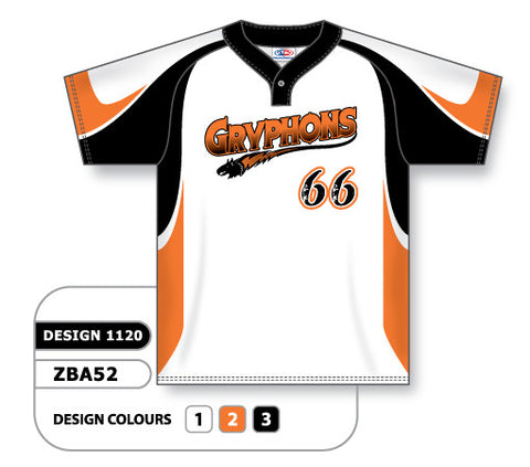 ZBA52-1120 Custom Sublimated One-Button Pro Placket Baseball Jersey
