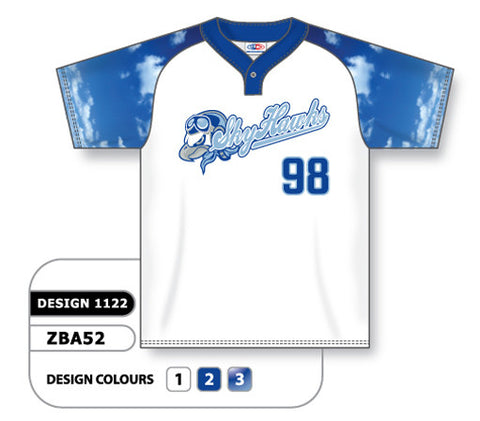 ZBA52-1122 Custom Sublimated One-Button Pro Placket Baseball Jersey