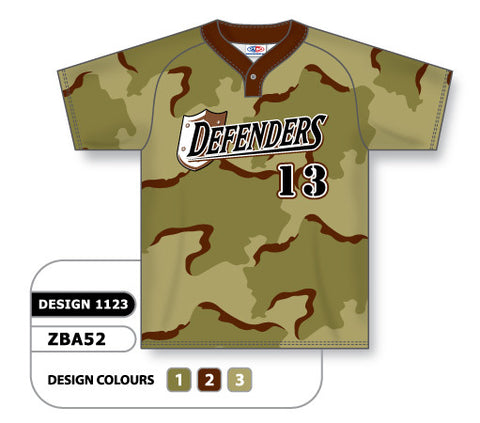 ZBA52-1123 Custom Sublimated One-Button Pro Placket Baseball Jersey