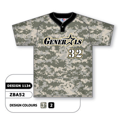 ZBA52-1134 Custom Sublimated One-Button Pro Placket Baseball Jersey