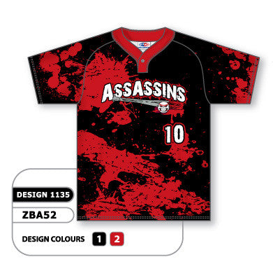 ZBA52-1135 Custom Sublimated One-Button Pro Placket Baseball Jersey