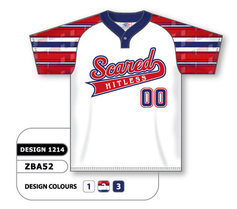 ZBA52-1214 Custom Sublimated One-Button Pro Placket Baseball Jersey