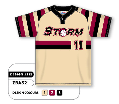 Custom Sublimated One-Button Pro Placket Baseball Jersey Design 1215